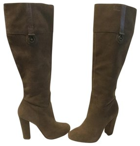 Joan & David Partial Zippers Soft Lining Brown suede all leather knee Boots