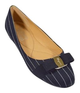Salvatore Ferragamo Bow Buckle Black/White Stripes Flats
