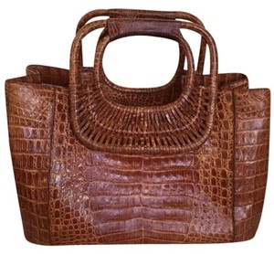 Nancy Gonzalez Brown Classic Stunning Genuine Croccodile Natural Satchel in saddle brown