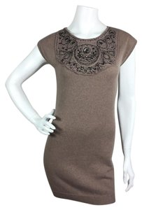 Magaschoni short dress Brown Tan Cashmere Embellished on Tradesy