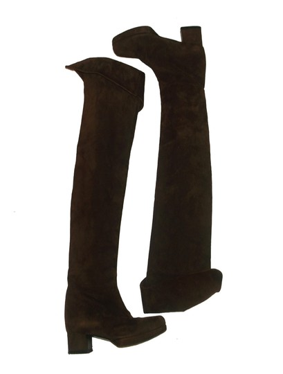 Prada Vintage Designer Cuffed Uncuffed Leather Suede Mod Brown Boots