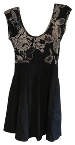 Express short dress black white floral pattern on Tradesy