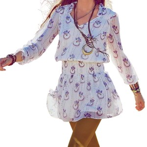 Free People short dress White Printed Long Sleeve Swingy Wild Ethnic Fp Bohemian Chic Fit And Flare Mini on Tradesy