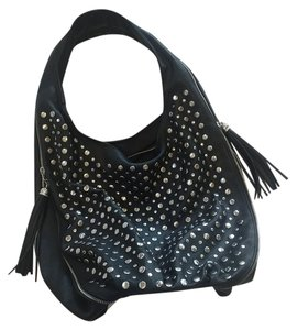 Lionel Studded Faux Leather Hobo Bag