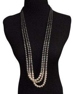 Chanel *Video* 3 Color ombre White Gray& Black Faux Pearl Long Necklace