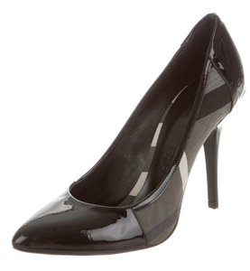 Burberry Pointed Toe Patent Leather Black, Grey Pumps