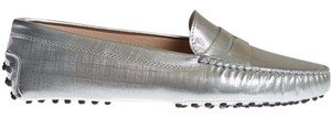 Tod's Gommini Metallic Loafer Silver Flats