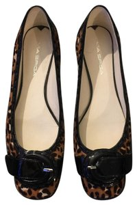 Via Spiga Animal Print Buckle Work Brown, Black, White Flats