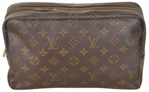 Louis Vuitton Monogram Trousse Toilette 28 Cosmetic Pouch Brown Clutch