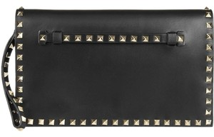 Valentino New Soho Leather Textured Disco Black Clutch