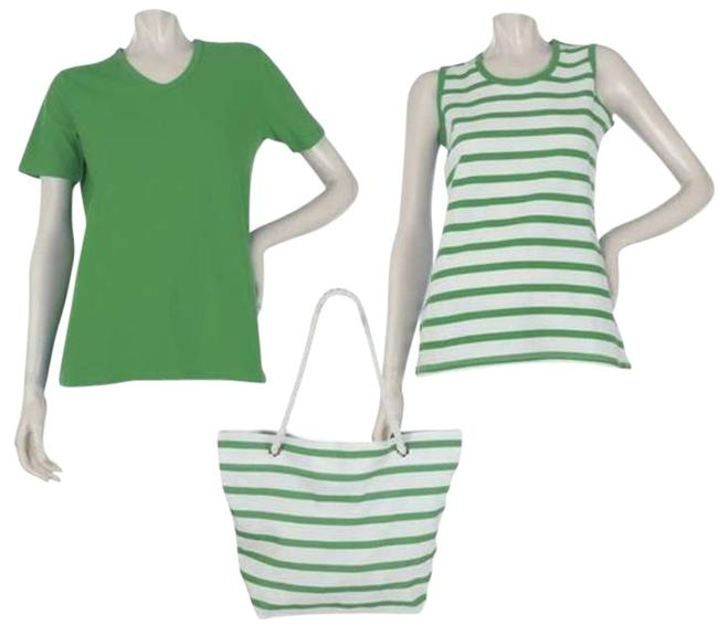 Preload https://item2.tradesy.com/images/green-and-green-and-white-stripe-two-tops-tote-l-sport-savvy-tee-shirt-size-14-l-202621-0-0.jpg?width=400&height=650