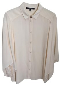 Gucci Silk Silk Silk Blouse Button Down Shirt Ivory