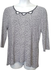Susan Lawrence Blue And White 3/4 Sleeve Length Flutter Size Xl Top Blue White