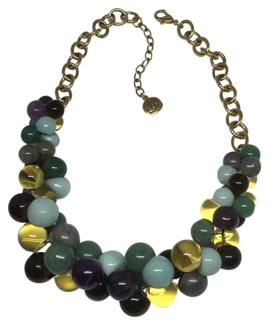 """Item - Gold Plated with Mix Color Semi-precious Beads 17"""" Necklace"""