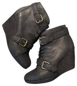 Madewell Buckle Platform Booties Italy Black Wedges