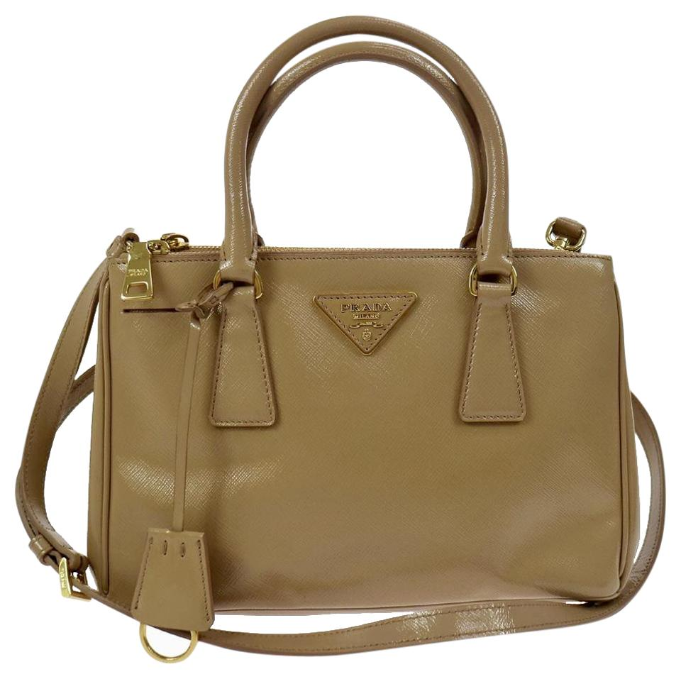 Prada Galleria Double Small Zip Nude Saffiano Leather Shoulder Bag ... 44ee92d243c19