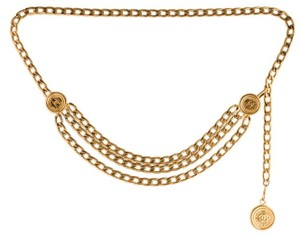 Chanel Triple Strand 3 CC Logo Medallion Gold Chain Necklace Heavy Jumbo XL