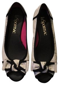 LeSportsac Patent Bow Open Toe White White, Black, Pink Sandals