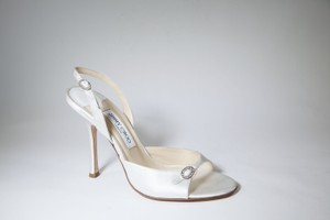 Jimmy Choo Jimmy Choo White Satin Ivory Open-toe Slingback Kitten Heels Diamond Wedding Shoes