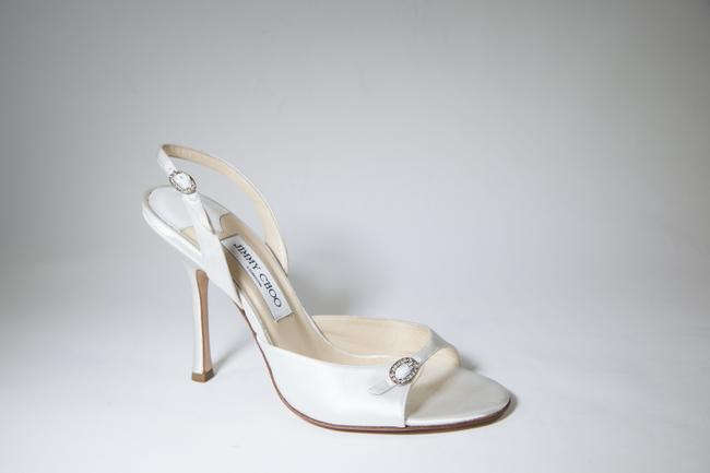 Item - White Satin Ivory Open-toe Slingback Kitten Heels Formal Size US 10 Regular (M, B)