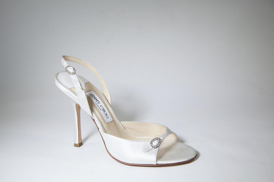 810d34c620a Jimmy Choo White Satin Ivory Open-toe Slingback Kitten Heels Formal ...