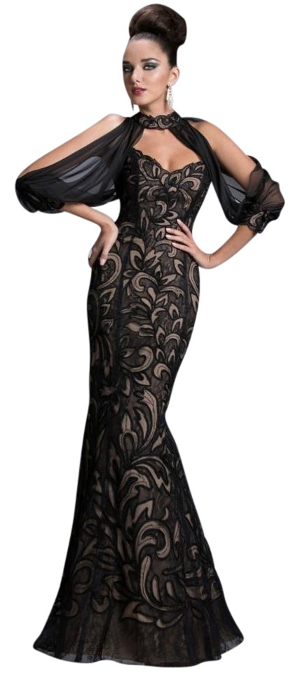 Janique Black and Nude Gown Long Formal Dress Size Petite 6 (S ...