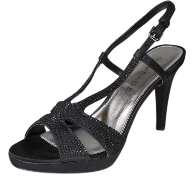 Item - Black Satin Platform Slingback Sandal Heels Formal Shoes Size US 7.5 Regular (M, B)