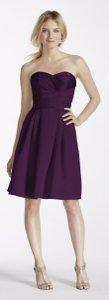 David's Bridal Plum Short Strapless Satin Dress With Pockets (style #f17001) Dress