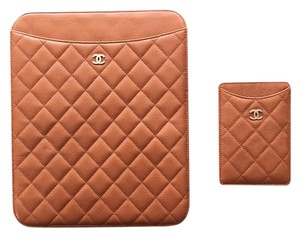 Chanel Caramel Caviar Quilted Leather Chanel iPad & iPhone Sleeve Case Set