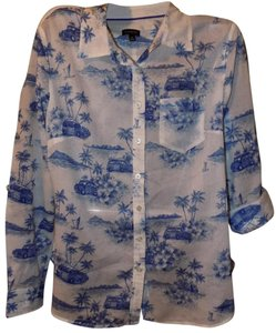 Talbots Bold Print Bohemian Cotton Limited Edition Button Down Shirt Blue & White