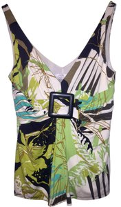 Cache Palm Cruise Vacation V-neck Top Green Tropical Multi-Color