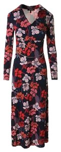 Navy/Pink Deco Maxi Dress by Juicy Couture Maxi Print Floral Long Sleeve