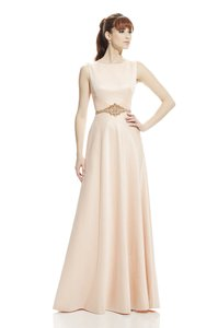 Theia Sleeveless Bateau Neck Woven Lurex Pique A-line Gown Wedding Dress