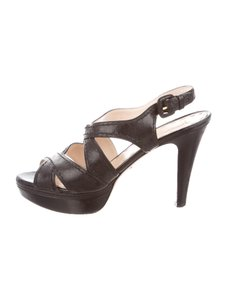 Prada Strappy Platform 7.5 Black Pumps