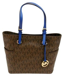 Michael Kors Collection Mk Signature Brown Blue Handles Medium Tote in Brown/St.Blue
