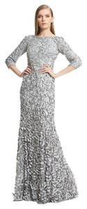 Theia Metallic Petal 3/4 Sleeve Gown Dress