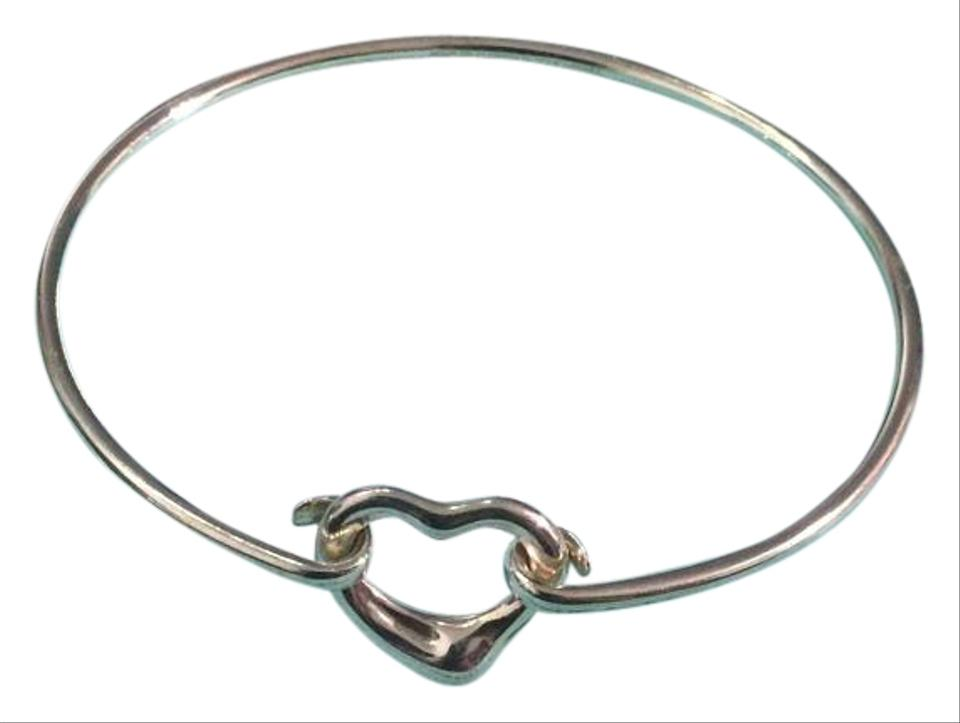 9e7f51381 Tiffany & Co. Dainty Sterling Silver Elsa Peretti Open Heart Bangle Bracelet  Image 0 ...