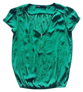 Zara Emerald Green Zipper Holiday Casual Top