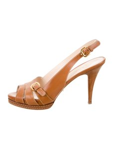 Prada Leather 8.5 Strappy Tan Sandals