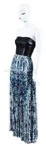 Multi-Color Maxi Dress by Sachin + Babi Black Blue White Leather Pleated Printed Bustier Maxi 0