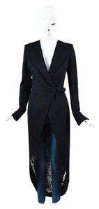 Thomas Wylde Wool Rhinestone Rose Embellished Long Sleeve Tailcoat Black Jacket