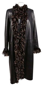 Other Christie Black Fur Fringe Trim Long Coat
