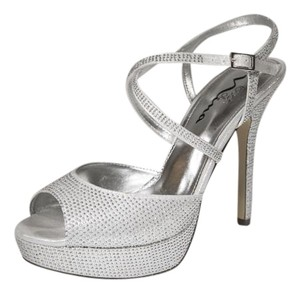 Touch of Nina Platform Strappy Silver Pumps