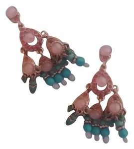 Joan Rivers Rose gold chandelier earrings with turquoise and pink beads