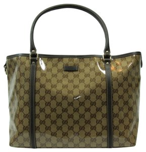 Gucci 265695 Gg Crystal Canvas Tote in Brown