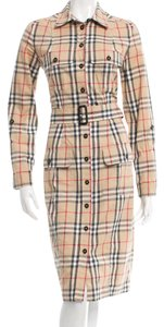 Burberry short dress Beige, Black Nova Check Plaid Monogram Cotton Longsleeve on Tradesy