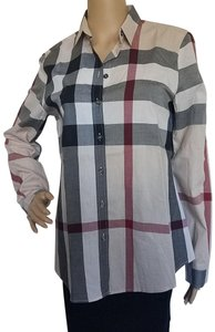 Burberry Nova Check Cotton Monogram Plaid Longsleeve Button Down Shirt Beige