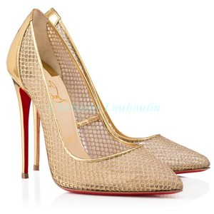 Christian Louboutin Pointed Toe Mesh Fishnet Metallic Follies Resille Gold Pumps