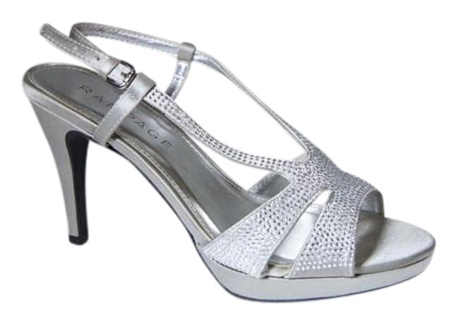 Item - Silver Wedding Satin Platform Formal Shoes Size US 7.5 Regular (M, B)