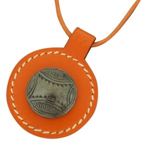 Hermès Orange Charm Necklace 211406